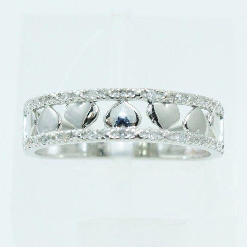 Anel De Ouro Branco 18k750 Diamantes Coração 2562