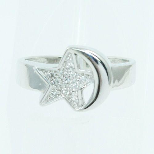 Anel De Ouro Branco 18k750 Diamantes Estrela Lua 2563