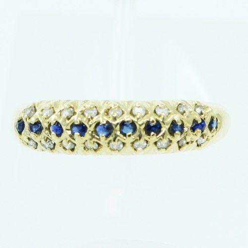 Anel De Ouro 18k750 Diamantes Safiras 2536