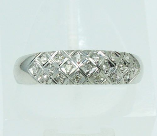 Anel De Ouro Branco 18k750 Diamantes 2192