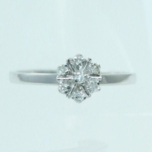 Anel De Ouro Branco 18k750 Diamantes 2339