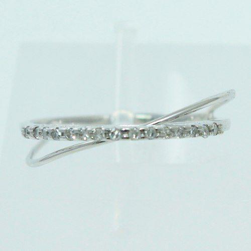 Anel De Ouro Branco 18k750 Diamantes 2308