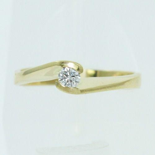 Anel De Ouro 18k750 Solitário Diamante 373