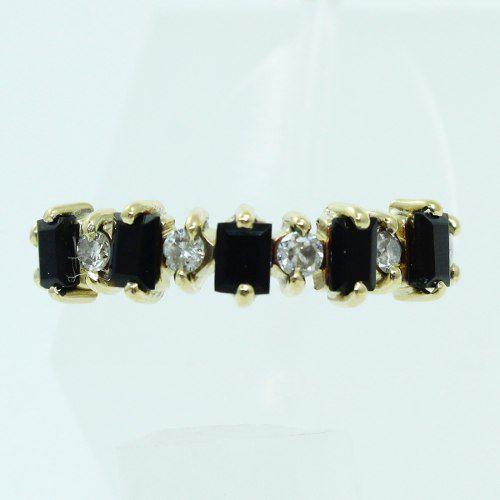 Anel De Ouro 18k750 Diamantes E Ônix 539