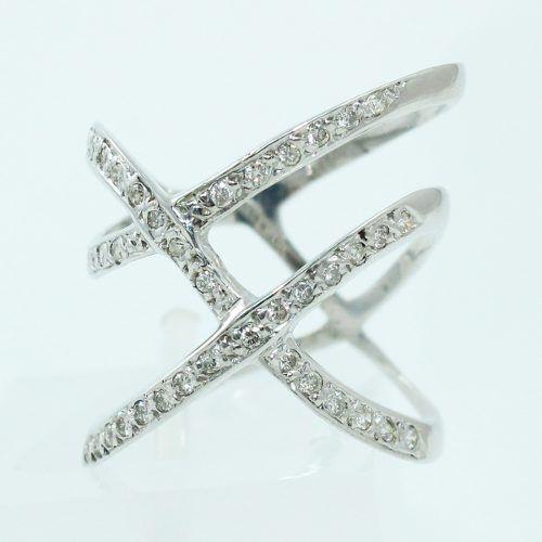 Anel De Ouro Branco 18k750 Diamantes 2529