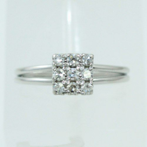 Anel De Ouro Branco 18k750 Diamantes 643