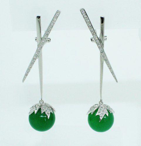 Brinco Ouro Branco 18k750 Diamante Jade B786