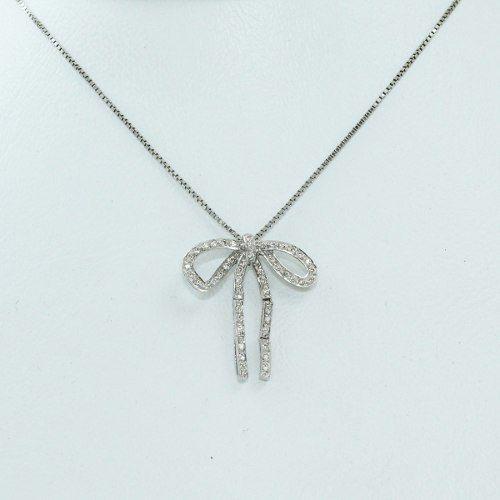 Colar De Ouro Branco 18k75 Diamantes C282