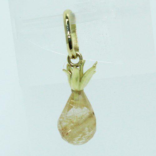 Pingente De Ouro 18k750 Cristal Rutilado P716