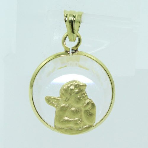Pingente De Ouro 18k750 Cristal Anjo P717