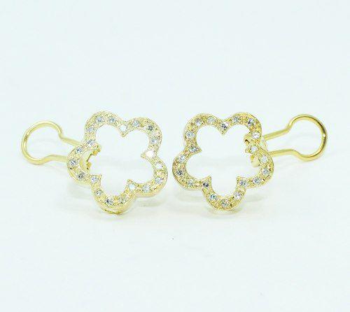Brincos De Ouro 18k750 Flor Diamantes B800
