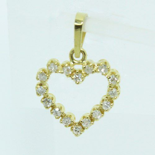 Pingente De Ouro 18k750 Coração Diamantes P718