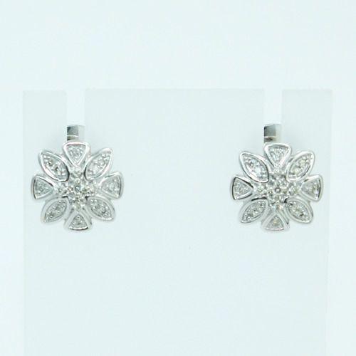 Brincos De Ouro Branco 18k750 Diamantes B881