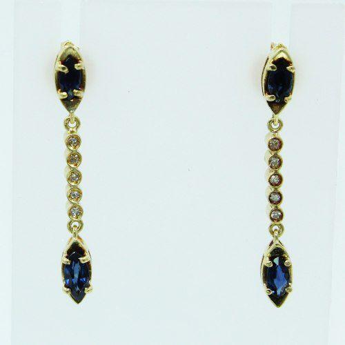 Brincos De Ouro 18k750 Diamantes Safiras B882