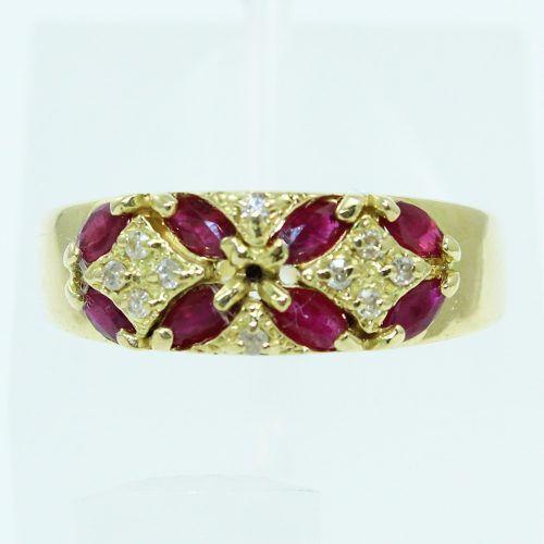 Anel De Ouro 18k750 Diamantes Rubis 2586