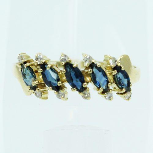 Anel De Ouro 18k750 Diamantes Safiras Azuis 2582