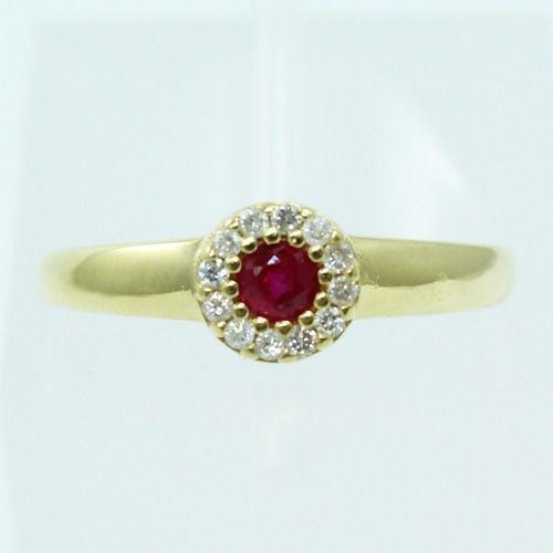 Anel De Ouro 18k750 Diamantes Rubi 2584