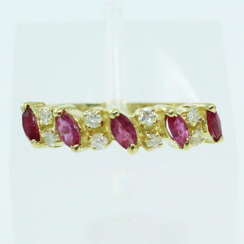 Anel De Ouro 18k750 Diamantes Rubis 2583