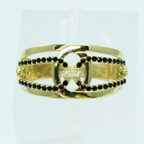 Anel De Ouro 18k750 Diamantes Ônix 2585