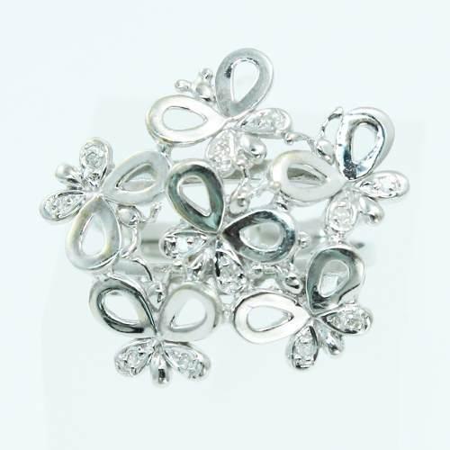 Anel De Ouro Branco 18k750 Diamantes 2589
