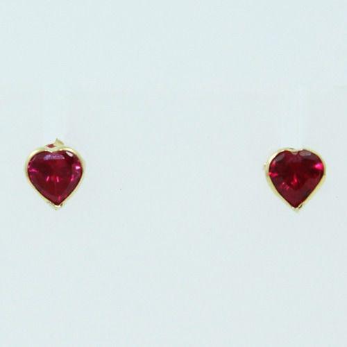 Brincos De Ouro 18k750 Pedras Vermelhas B885