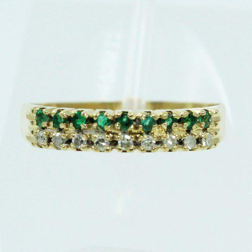 Anel De Ouro 18k750 Diamantes Esmeraldas 2590