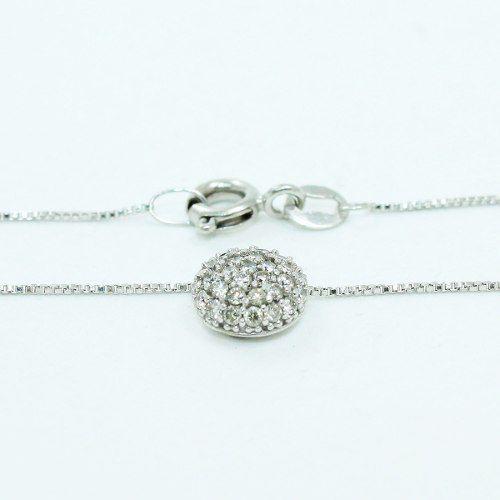 Colar De Ouro Branco 18k750 Diamantes C342