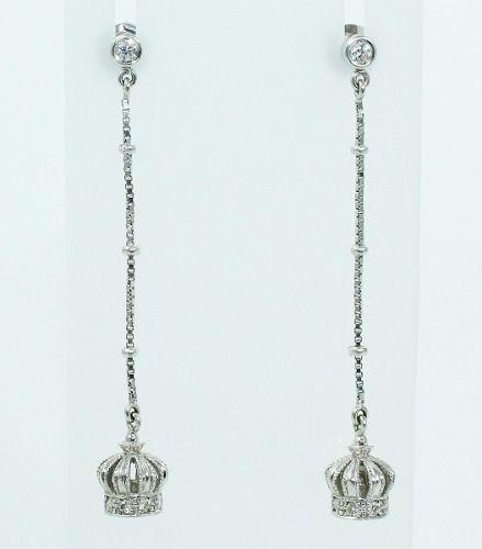 Brincos De Ouro Branco 18k750 Diamante Coroa B773