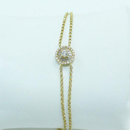 Pulseira De Ouro 18k750 Diamantes Pu90