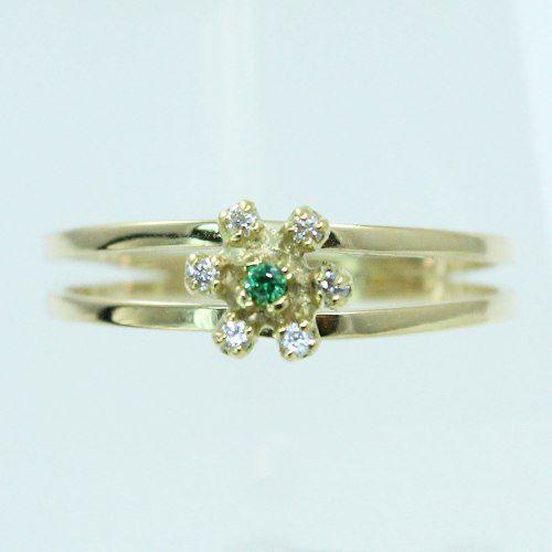 Anel De Ouro 18k750 Diamantes Esmeralda 1692