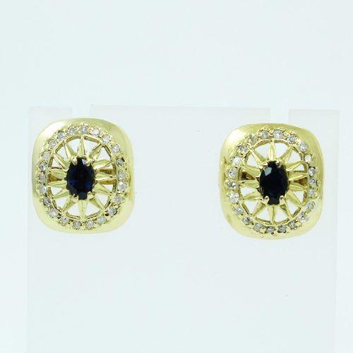 Brincos De Ouro 18k750 Diamantes Safira Azul B258