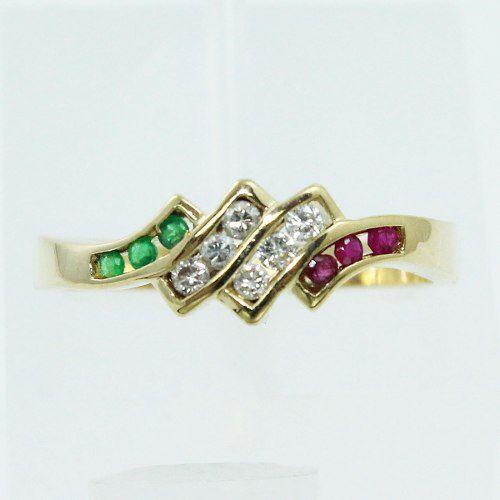 Anel Ouro 18k750 Diamantes Rubis Esmeraldas 425