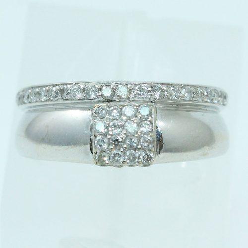 Anel De Ouro Branco 18k750 Diamantes 2256