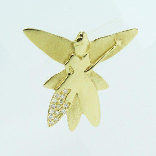 Pingente De Ouro 18k750 Diamantes Fada P723