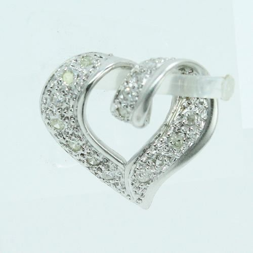 Pingente Ouro Branco 18k750 Coração Diamante P720
