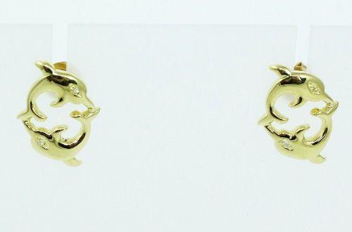 Brincos De Ouro 18k750 Diamantes Golfinho B791