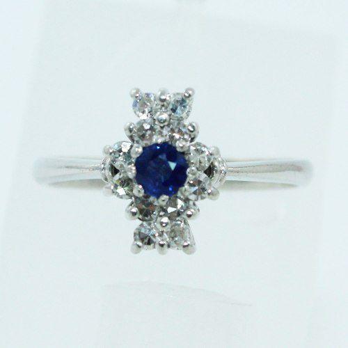 Anel De Ouro Branco 18k750 Safira Diamante 659