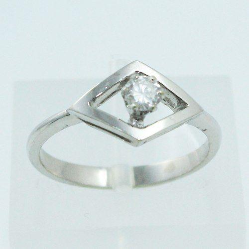 Anel De Ouro Branco 18k750 Diamante Solitário 543