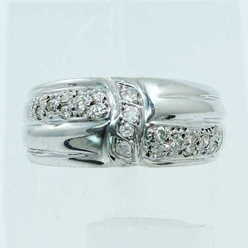 Anel De Ouro Branco 18k750 Diamantes 616