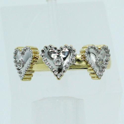 Anel De Ouro 18k750 Corações Diamantes 1402
