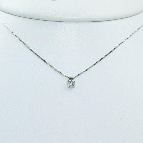 Colar De Ouro Branco 18k75 Diamante C274