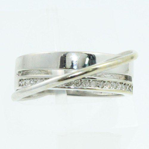 Anel De Ouro Branco 18k750 Diamantes 2124