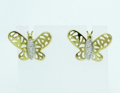 Brincos De Ouro 18k750 Borboletas Diamantes B519