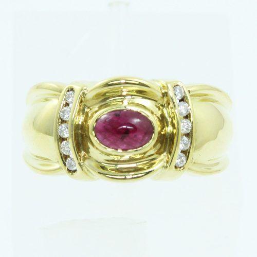 Anel Ouro 18k750 Diamantes Rubi Denoir 1198