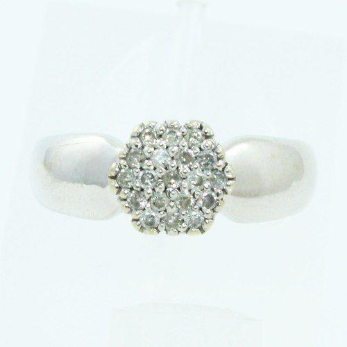 Anel De Ouro Branco 18k750 Diamantes 1299