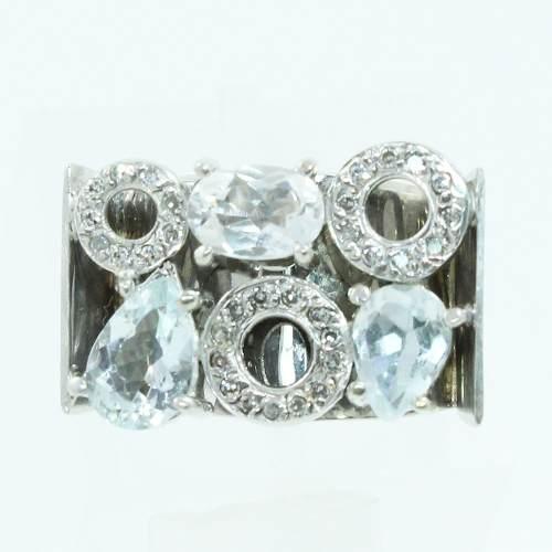 Anel De Ouro Branco 18k750 Diamantes Topázio 2027