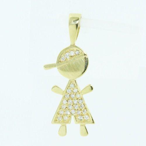 Pingente De Ouro 18k750 Menino Diamantes P122