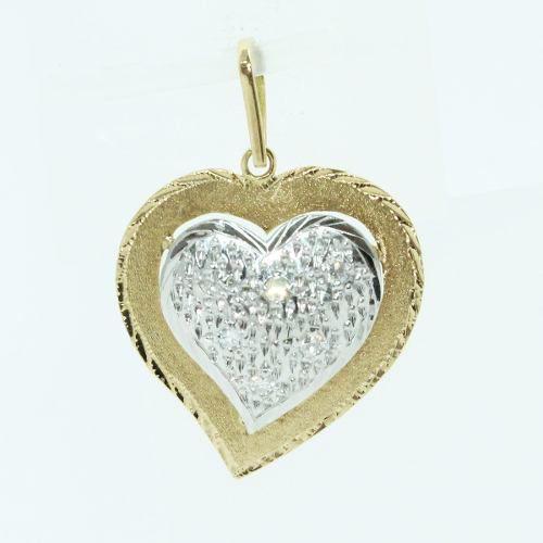 Pingente De Ouro 18k750 Coração Diamantes P107