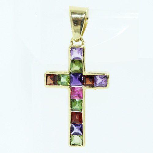 Pingente Ouro 18k750 Cruz Pedras Coloridas P126