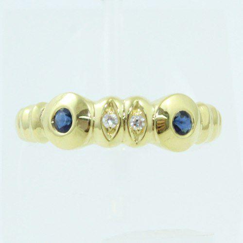 Anel De Ouro 18k750 Diamantes Safiras 1368